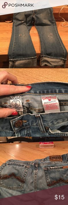Lucky brand cuffed jeans These awesome jeans are super cute, inseam is 24 inches with factory distressing.  Ready to add to you closet Lucky Brand Jeans Ankle & Cropped