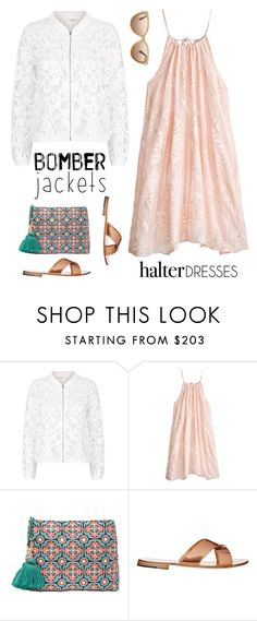 """Summer Bomber Jacket and Halter Dress"" by musicfriend1 ❤ liked on Polyvore featuring Maje, Calypso St. Barth, Star Mela, Cutler and Gross, bomberjackets and halterdresses"