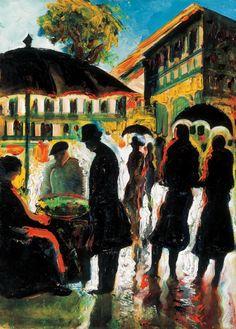Scheiber, Hugó - Chestnut Vendor - Expressionism - Genre - Oil on cardboard