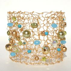 Big Wire Bracelet Statement Jewelry Modern Knit Wide by lapisbeach, $74.00