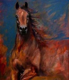 Horse painting with great coloring. Pretty Horses, Beautiful Horses, Horse Canvas Painting, Painting Art, Watercolor Painting, Horse Mane, Horse Artwork, Animal Paintings, Horse Paintings