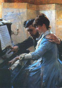 Albert Edelfelt, (Finnish, 1854-1905) Suonando il piano- Playing the PIano