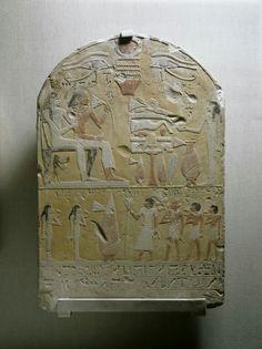 Limestone funerary stele of Tembu with polychrome paint. New Kingdom. Early 18th dynasty, c. 1500-1470 B.C.E. | The Walters Art Museum