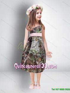 Fashionable knee length camo flower girl dresses with sashes camo cheap one shoulder tea length camo 2015 flower girl dresse5 mightylinksfo