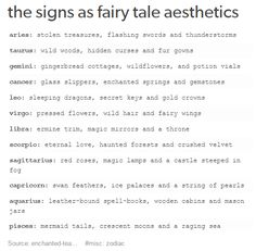 your zodiac sign as fairy tale stuff