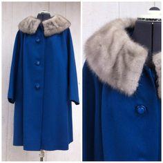 Vintage Blue Wool coat with Fur Collar by LitterandVintage on Etsy, $79.00