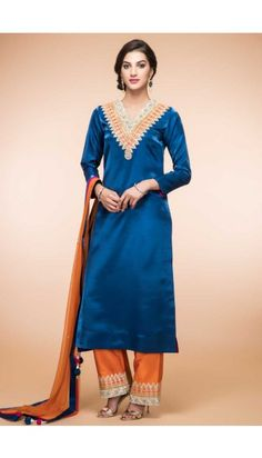 Peacock Blue Silk Trouser Suit With Dupatta - 1869