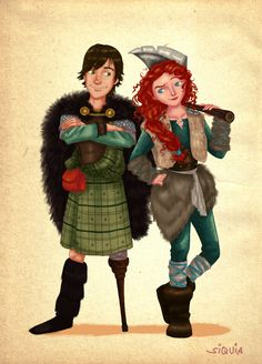 Prince Hiccup and the Viking Merida (who looks like a red-haired version of Astrid). Let me ask you, does Hiccup look good in a kilt? I do.