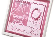 Cute Lenka Smile :  in Pink Shimmer paper and Metallic Pink paper for background, 35 x 35 cm frame size.