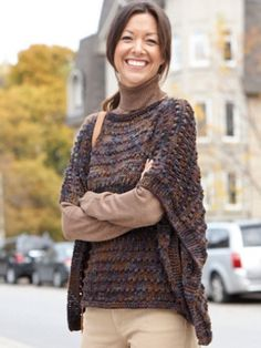Easy-Wearing Knit Wrap | Yarn | Free Knitting Patterns | Crochet Patterns | Yarnspirations