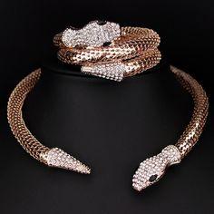클래식 펑크 보석 골드/실버 도금 크리스탈 뱀 모양 목걸이 모조 다이아몬드 칼라 목걸이 문 X1637