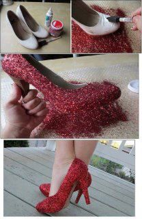I did this for Chloe's Dorothy costume last year except I used spray adhesive.  I also sprayed them with red spray paint first.  I filled the shoes with paper towels to protect the inside.  Then I sprayed on the adhesive and applied the glitter.  I used an old white pair of shoes so it was very inexpensive!