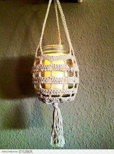 Stylowi.pl - Odkrywaj, kolekcjonuj, kupuj Crochet Kitchen, Crochet Home, Crochet Gifts, Easy Crochet, Knit Crochet, Crochet Flower Patterns, Crochet Flowers, Crochet Jar Covers, Crochet Plant Hanger