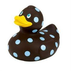 Rubber ducky in chocolate brown with some stylin' baby blue polka dots.