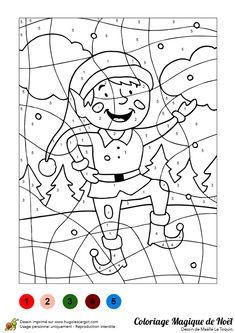 un jeu de coloriage magique illustrant un lutin qui danse