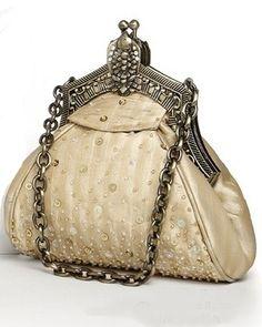 52e59a3bcc06 Beaded Vintage Bridal bag in Champagne... Pink Beige