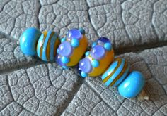 Yellow Purple Turquoise Dot Pair Lampwork Beads by Cherie Sra R114 Earring pair Flameworked Glass Beads Yellow Purple Pair Lampwork Beads by CherieRanfranz on Etsy