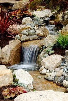 Stone Garden backyard Waterfall