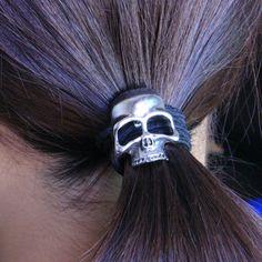 Retro Metal Hair Tie Skull Elastic Bands Accessories Women Men
