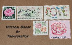 Reserved Custom Order for britneydimmick .. Unused Vintage postage stamps. Sold on Etsy by TreasureFox
