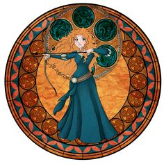Walt Disney movie Brave, Merida stained glass style
