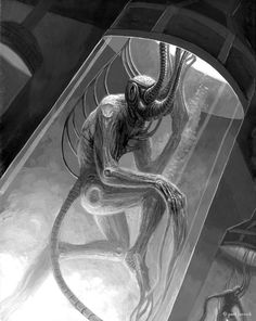 My second casein painting- © Paul Carrick 2010 Slated to be the cover of a Chaosium, Inc. Paul Carrick, Call Of Cthulhu Rpg, Expensive Art, Science Fiction Art, Science Space, Oil Painters, Angels And Demons, Creature Design, Cyberpunk