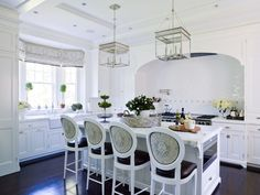 Thornton Designs - kitchens - Urban Electric Chisholm Hall, white cabinets, white kitchen cabinets, latch hardware, kitchen island microwave...