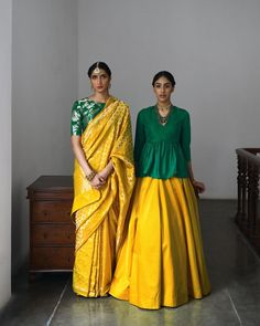 The idea of one woman or bride is an unrealistic ideal - 'Heer' emphasises uniqueness and utility of textile as a silhouette or ornamentation. Varanasi brocade silk sari and 'Nazneen' blouse and Stylist in 'Daman' blouse & 'Goyli' silk lehenga . Saree Blouse Patterns, Saree Blouse Designs, Lehenga Designs, Indian Attire, Indian Wear, Indian Dresses, Indian Outfits, Indian Designer Outfits, Saree Dress