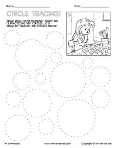 Tessa Ergo loves drawing. Join Tessa by tracing the circles.This circle tracing worksheet can help children improve their fine motor skills.