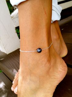 Black Pearl Anklet Sterling Silver by MishaHawaii on Etsy, $42.00