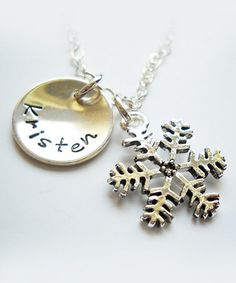 Take a look at this Sterling Silver Snowflake Disc Personalized Pendant Necklace by The Sassy Apple on #zulily today!