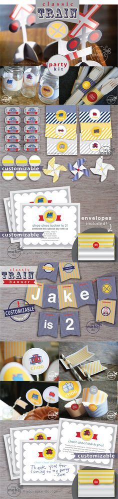 INSTANT DOWNLOAD train party train birthday train by youmakedo, $18.00