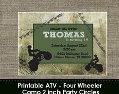 hunting themed birthday cards | ATV - Four Wheeler Camo Invitation - DIY - Printable ...