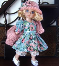 "DRESS,SWEATER,HAT,PANTALOONS SET MADE FOR TONNER PATSY &SIMILAR SIZE 10""DOLL"