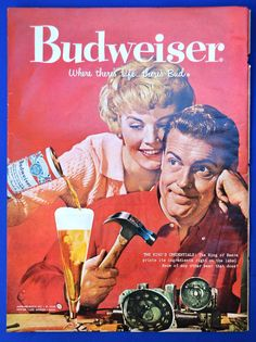 1958 BUDWEISER BEER AD Vintage Bud Advertisement The King's Credentials - King of Beers