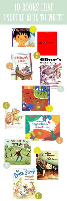 "10 Books That Inspire Kids to Write..... Follow for Free ""too-neat-not-to-keep"" teaching tools & other fun stuff :)"