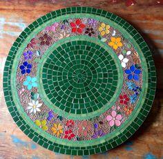 Table mosaic, prato giratorio em nosaico, by Schandra Mosaico