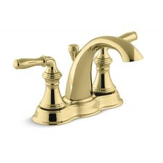 Use this brass lavatory faucet to give a classic look to any sink. The double-handled style features shaped levers that make it easy to adjust the temperature. The self-contained ceramic disc valve inside boosts the lifespan of this fixture.