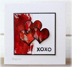 handmade Valentine card ... luv the black edges and the artistic look ... I think every card Birgit makes is a little piece of art ... grouping of three hearts ... OXOX sentiment ... smeared red paint band of background color ...