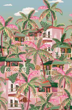 Farm Wallpaper, Free Wallpaper Backgrounds, Mood Wallpaper, Pink Wallpaper Iphone, Aesthetic Pastel Wallpaper, Locked Wallpaper, Illustrations, Illustration Art, Tropical Artwork