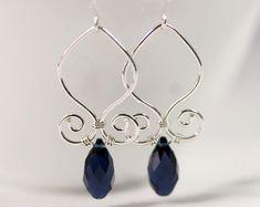 Green Swarovski Earrings Wire Wrapped Jewelry by JessicaLuuJewelry