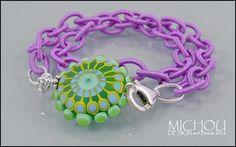 California Girl  Lampwork Bracelet in green by MichouJewelry, $53.00