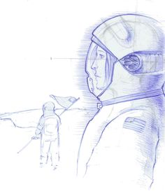 Focusing on the importance of ergonomics and overall comfort needed by astronauts, Designer Herald J. Ureña's goal in designing this space-helmet was to humanize the head-gear and Jets Hockey, Helmet Logo, Racing Helmets, Modern Spaces, Lacrosse, Diving, Sketches, Animation, Sky