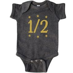Inktastic Half Birthday Gold Stars Outfit Infant Creeper Baby Bodysuit 1/2 6 Months Month Clothes Clothing Cute Photo Old Girl Boy One Kids Childs Children For Happy Gift One-piece Hws, Size: 18 Months, Black
