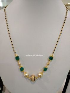 Black beads short necklace sets for churidars, western wear and sarees. 22 carat gold necklaces with south sea pearls emerald beads co. Gold Mangalsutra Designs, Gold Earrings Designs, Beaded Jewelry Designs, Gold Jewellery Design, Bead Jewellery, India Jewelry, Diamond Mangalsutra, Gold Designs, Designer Jewellery