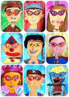 maskers, Carnaval. Kleurpotlood, omlijnd met fineliner of kleurstift.