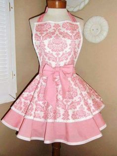 Custom Listing For Nina. Pink Damask Print Womans Retro Apron~Fun, Full Apron with Bib and Tiered Skirts. Accented with Solid Pink Waistband and Pink Apron, Retro Apron, White Apron, Aprons Vintage, Vintage Apron Pattern, Pink Damask, Cute Aprons, Sewing Aprons, Everything Pink
