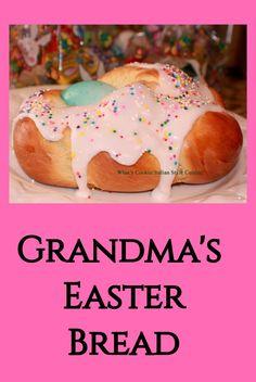 Grandma Easter Bread a light egg sweet bread made during Easter Easter Bread Recipe, Easter Recipes, Holiday Recipes, Easter Ideas, Easter Dinner, Easter Brunch, Kid Desserts, Dessert Recipes, Recipes Dinner