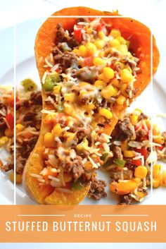 This Stuffed Butternut Squash recipe has quickly raised to the top of my favorite dinner list. I love the combination of flavors, textur. Baby Food Recipes, Beef Recipes, Vegetarian Recipes, Cooking Recipes, Healthy Recipes, Quick Recipes, Healthy Meals, Yummy Recipes, Kitchens
