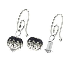 Interchangeable Sterling Silver Pandora Brand Earrings With Cores And Black White Pave Charm